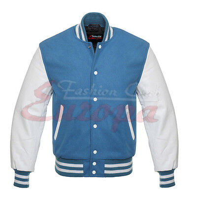 10Jacket Sky blue Varsity  Letterman Wool with white Real Leather Sleeves XS-4XL - Wholesale Letterman Jackets