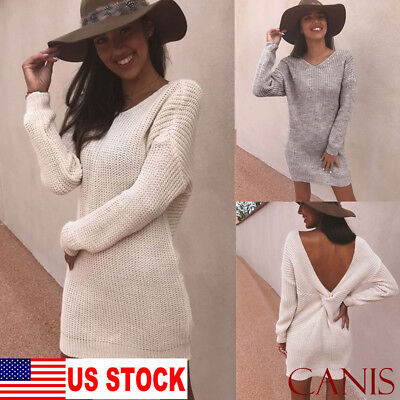 Womens Long Sleeve Sexy Backless Casual Loose Knitted Sweater Jumper Mini Dress - Mini Womens Sweater