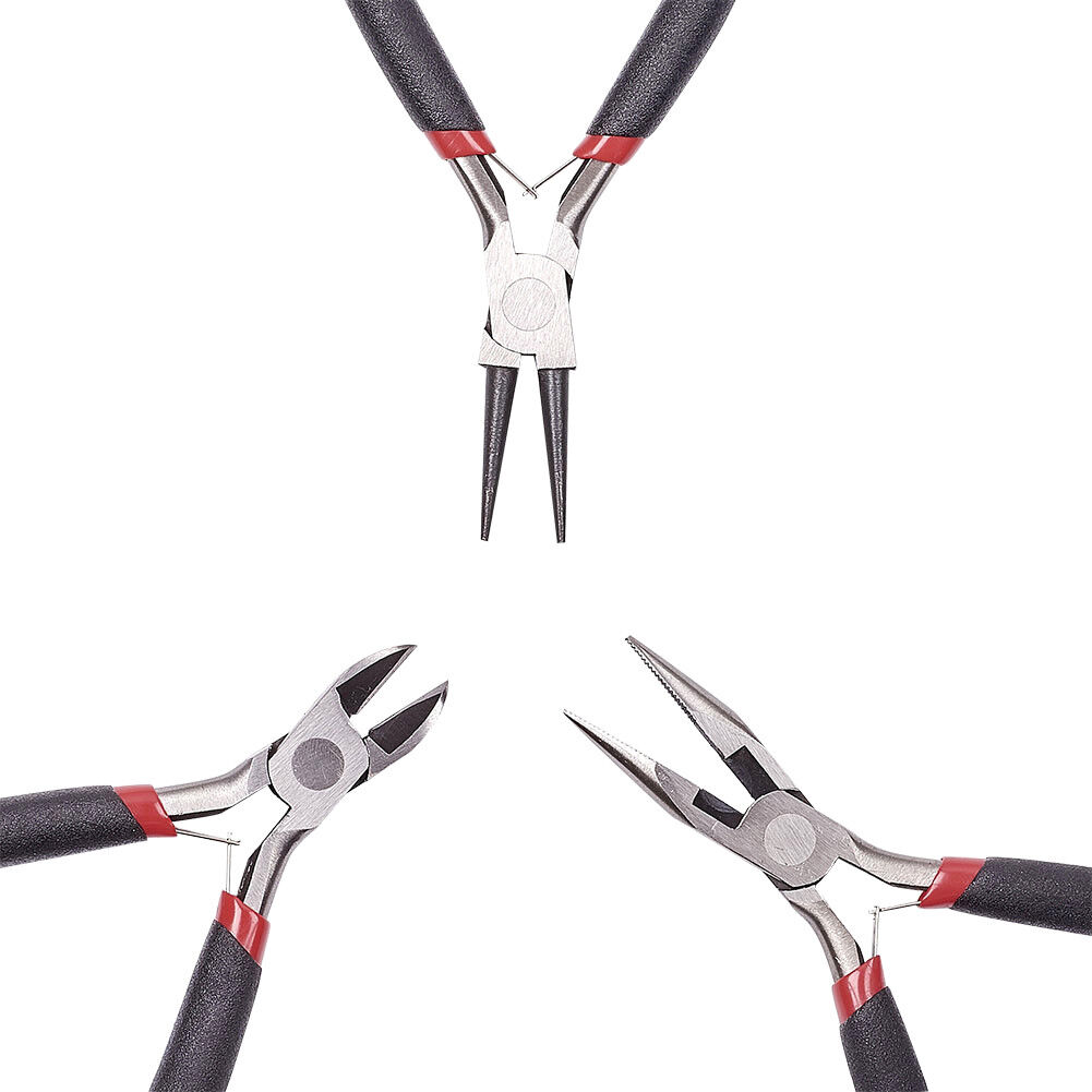3pcs//Set Polishing Jewelry Plier Kits Side Cutting Wire Cutter Round Nose Tools
