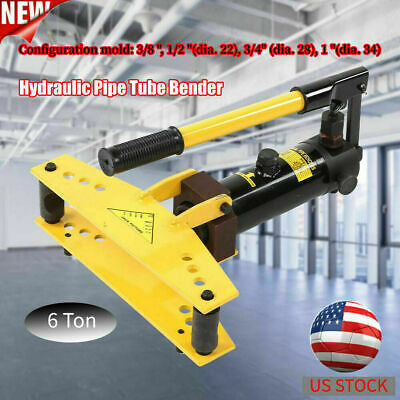 Hydraulic Pipe Tube Bender With 6 Dies Case All Metal Bending 38 - 1 New