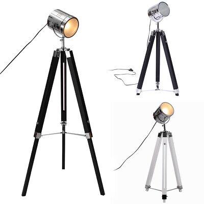 Stand Floor Lamp Vintage Nautical Spotlight Industrial Studio Wood Tripod Light