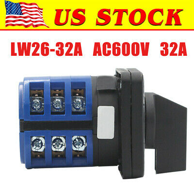 3 Positions On-off-on Changeover Control Rotary Cam Switch 32a 600v Lw26 Us
