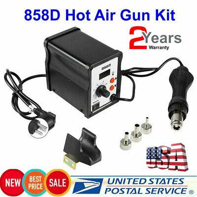 858d Hot Air Gun Kit Rework Station Smd Iron Soldering Solder Holder 110v Usa