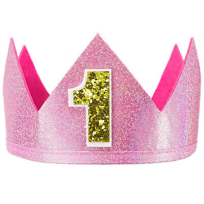 Party Place Costumes (Pink Sparkle Number 1 Crown - Cute First Birthday Party, 1st Place Gift,)