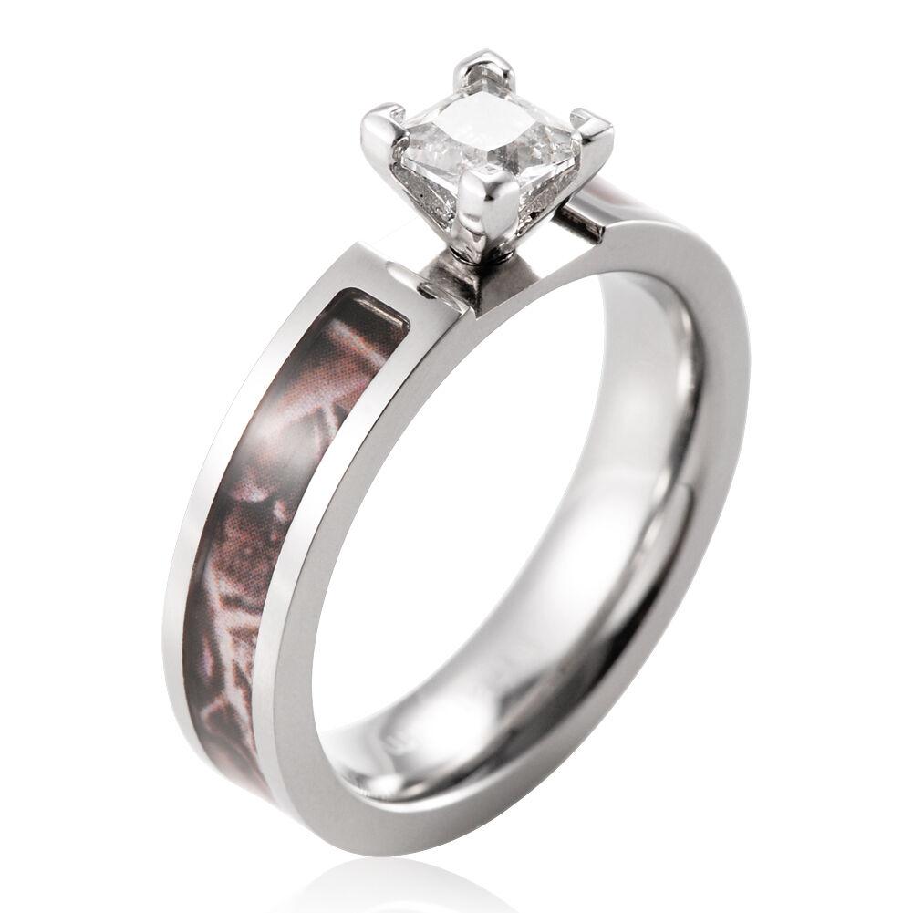 Women's Brown Tree Camo Titanium Engagement Ring Princess...
