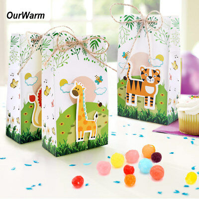6×Jungle Safari Zoo Theme Candy Box Animal Treat Gift Box Bags Baby Shower Decor