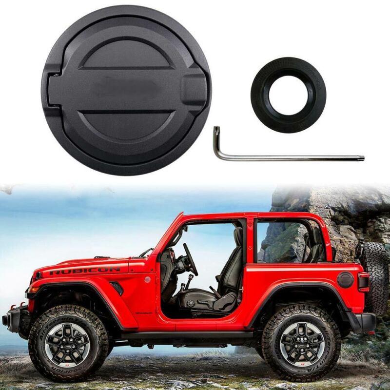 Black Gas Tank Cap Fuel Filler Cover Accessories Fits 2018-2021 Jeep Wrangler JL