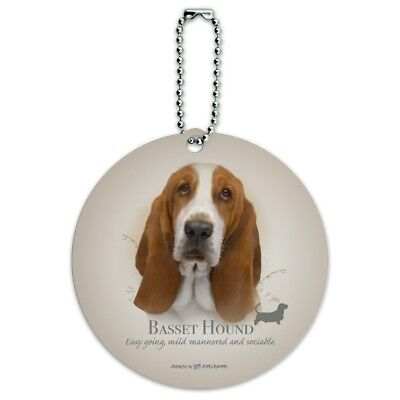 Basset Hound Dog Breed Round Luggage ID Tag Card Suitcase Carry-On ()