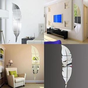 Piuma specchio vetro piastrella adesivi da parete decalcomania camera a mosaico ebay - Specchio mosaico vetro ...