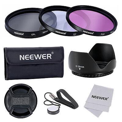 Neewer 58mm Set Filtro Lente UV/CPL/FLD+Paraluce Tulipano per Fotocamere CANON