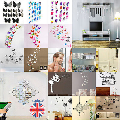 - 3D DIY Butterfly Mirror Effect Wall Sticker Art Mural Decal Home Decor Removable
