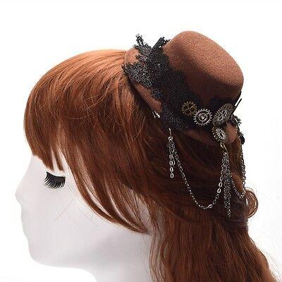 uasten Mini Hut Haar Clip Steampunk Gothic Kopfbedeckungen (Hut-haar-clip)