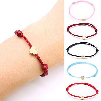 2PCS Bracelet Red Ropes Bangle Lucky Women's Cord String Heart Jewelry Wristband (Red Ropes)