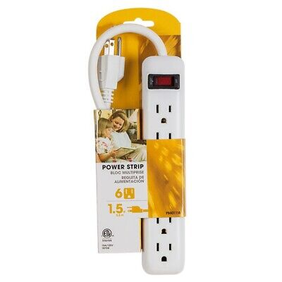 6 Outlet Wall Strip - 6 Outlet Socket AC Power Strip Indoor Wall Mount US Plug 1.5FT Extension Cord