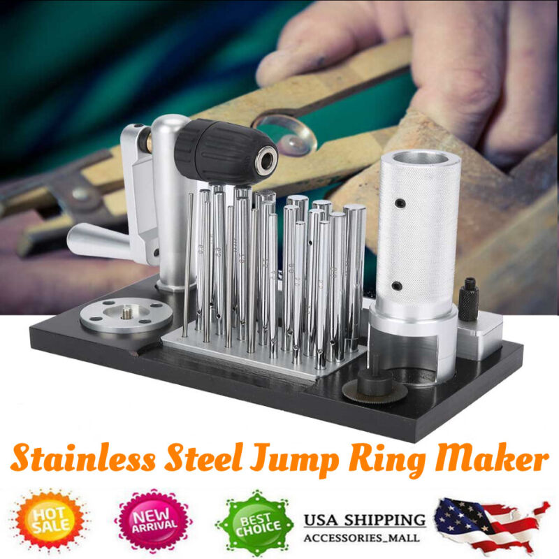 Stainless Steel Manual Jump Ring Maker Machine Jewelry Tool 20 Mandrel Accessory
