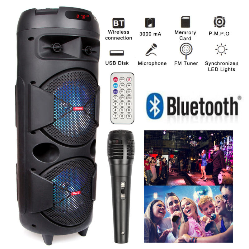 "Dual 6.5"" Woofer Portable FM Bluetooth Party Speaker Heavy Bass Sound With Mic"