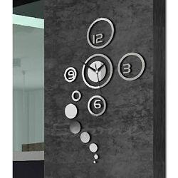 Mirror Style DIY Wall Clock Removable Decal Vinyl Art Wall Sticker Home Decor