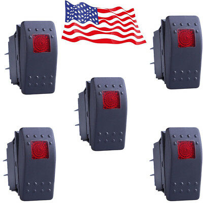 New 5pcs Waterproof Marine Boat Car Rocker Switch Spst On-off 4pin 4p Red Led