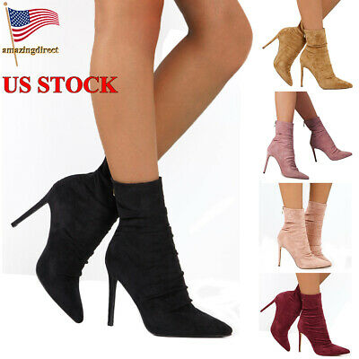 Women High Heel Stiletto Ankle Boots Ladies Zip Up Pointed Toe Shose Size 5-9
