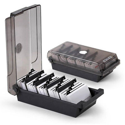 Business Card Holder File Card Storage Box Organizer 4 Divider 20 A-z Guides Exc
