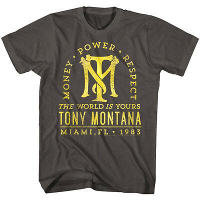 Scarface Tony Montana Miami 1983 Mens T Shirt Money Power Respect World IS Yours