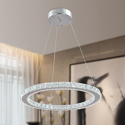 Modern ring crystal led light ceiling pendant lamp fixture for Diy led chandelier