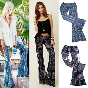 S-XL-Soft-Knit-Stretch-Boho-Print-Bell-Bottoms-Long-Flare-Pants-Hippie-Floral
