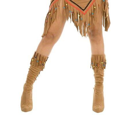 Indian Maiden Veloursleder Erwachsene Stiefel Abdeckung Top Pocahontas Kostüm
