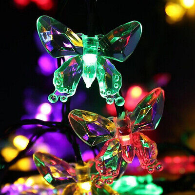 Solar Powered Butterfly LED String Lights Sensor Outdoor Garden Lamp Decorations ()