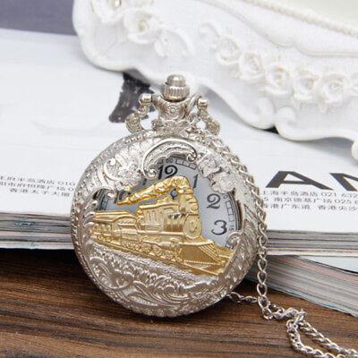 Classic Steam Train Quartz Pocket Watch Gift Necklace Pendant Chain Steampunk