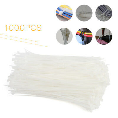 1000pcs Pack 8 Inch White Network Cable Cord Wire Tie Strap 50lbs Zip Nylon
