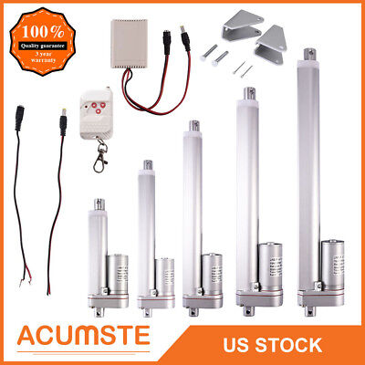 2-12 Inch Linear Actuator 12v Volt Motor Stroke 900n 225 Pound Max Lift Silver