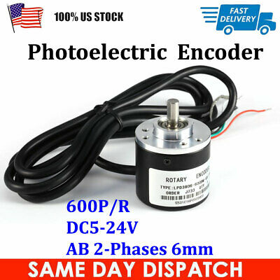 600pr Photoelectric Incremental Rotary Encoder Dc5-24v Ab 2-phases 6mm Shaft