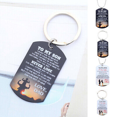 Trendy To My Son I Love You Letter Dog Tag Pendant Necklace/Keychain Gift Little - I Love You Letter