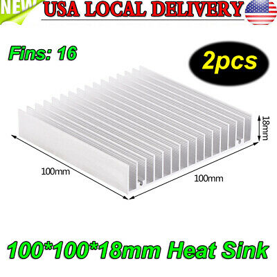2pcs Aluminium Radiator Heatsink Heat Sink 100mm X 100mm X 18mm