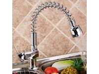 Kitchen Sink Mixer Tap Pull Out Spray Chrome Polished Spring Neck Swivel