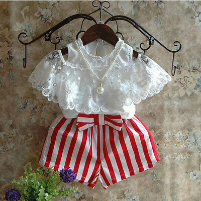 US STOCK Toddler Kid Baby Girl Summer Outfits T-shirt Tops+Short Pants Clothes](Short Girl Outfits)