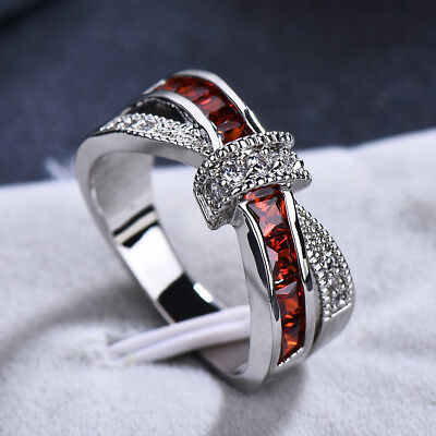 Exquisite Red Ruby Criss Cross Infinite Ring White Gold Wedding Promise Jewelry