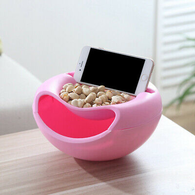 Fruit Snack Plate - Double Layer Snack Fruit Plate Bowl Dish with Phone Holder for TV Lazy Tools USA