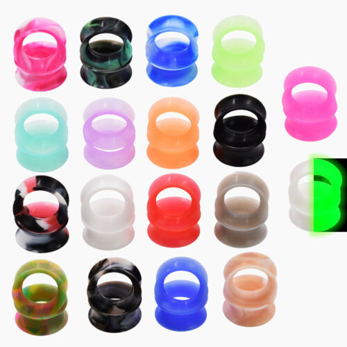 1 PAIR 11//16 18MM GREEN FLEXIBLE SILICONE GLOW IN THE DARK DOUBLE FLARE TUNNEL