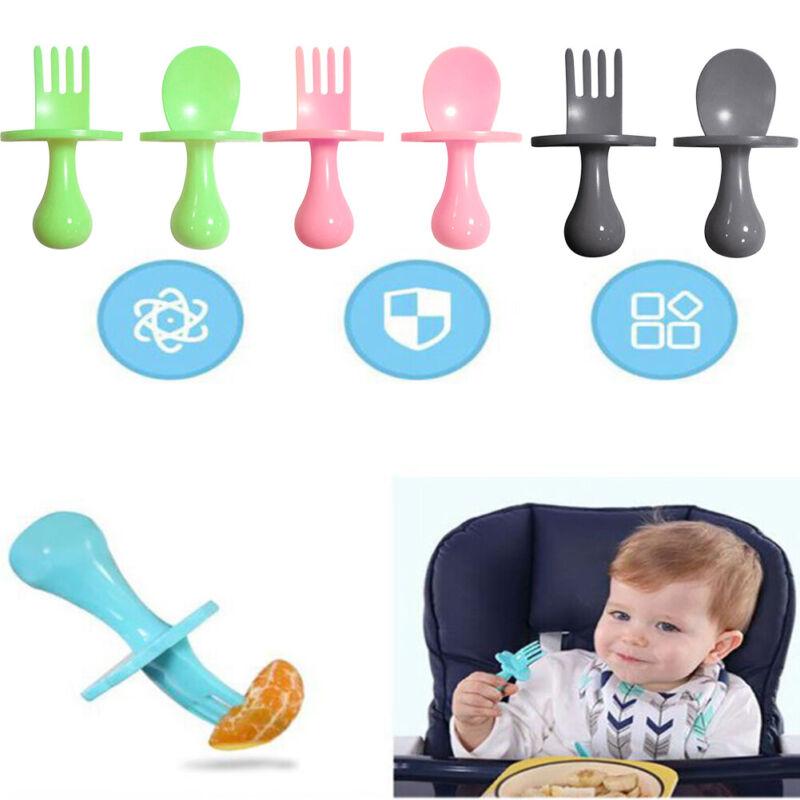 Spoon Fork Utensil Self Feeding Learning Dinnerware Baby Training Cutlery Set