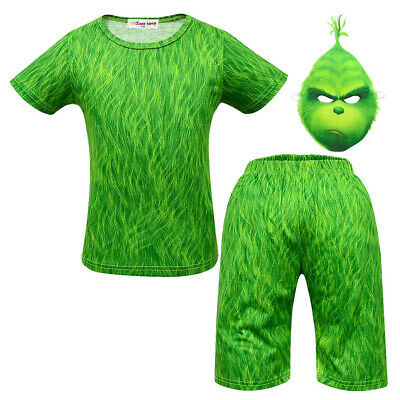 The Grinch Halloween Costume (The Grinch Cartoon Kid Suit Mask Cosplay Costume Halloween Girls Boys)