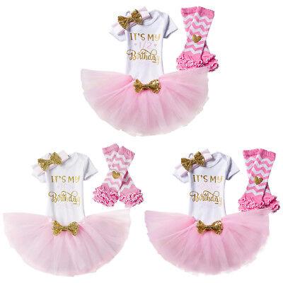 Baby Mädchen 1 Jahr 2 Jahre Geburtstag Party Tutu Rock Cake Smash Outfit 4tlg