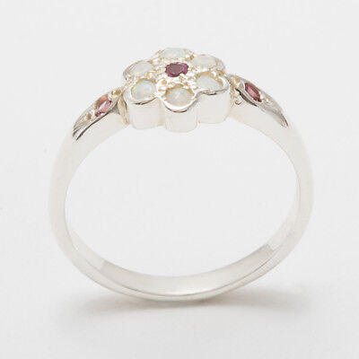 - Solid 18ct 750 White Gold Natural Pink Tourmaline & Opal Womens Daisy Ring