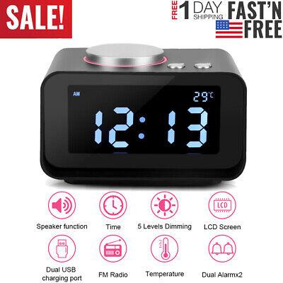 Mini LCD Digital Alarm Clock FM Radio Speaker Function + Dual USB Charging Ports