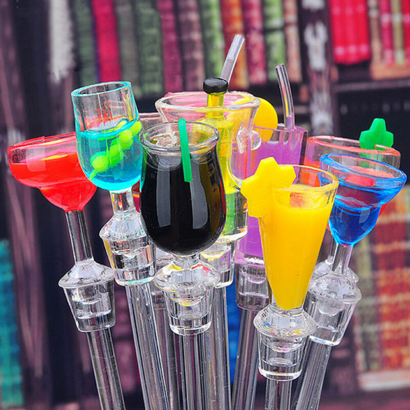 10Pcs Cocktail Juice Drink Stirrers Swizzle Bar Stick Glass Sticks Gin Set