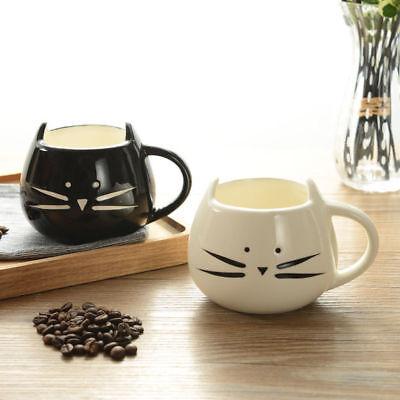 420ml Lovely White / Black Cat Coffee Milk Light Ceramic Lovers Mug Couples Cup Black Cat Coffee Mug