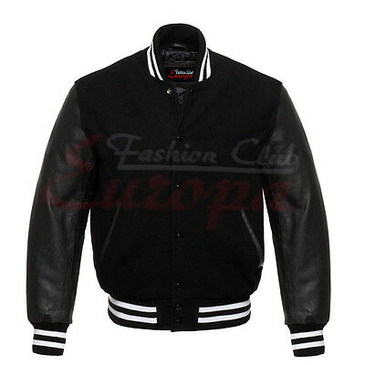 Black Varsity Letterman Wool Jacket with Real Leather Sleeves XS-4XL - Wholesale Letterman Jackets