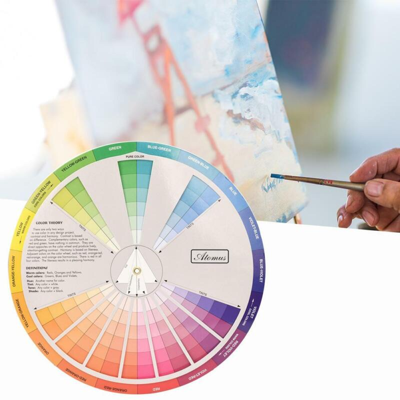 Professional Paper Color Wheel Mix Guide Round Tattoo Nail Pigment Card Chart