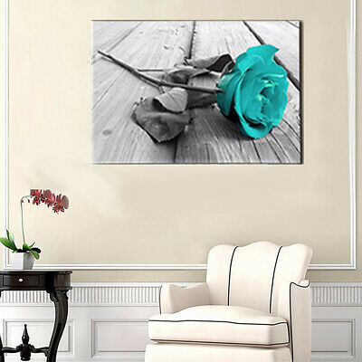 Cyan Rose Flower Wall Art Painting Living Bedroom Home Decor Home & Garden